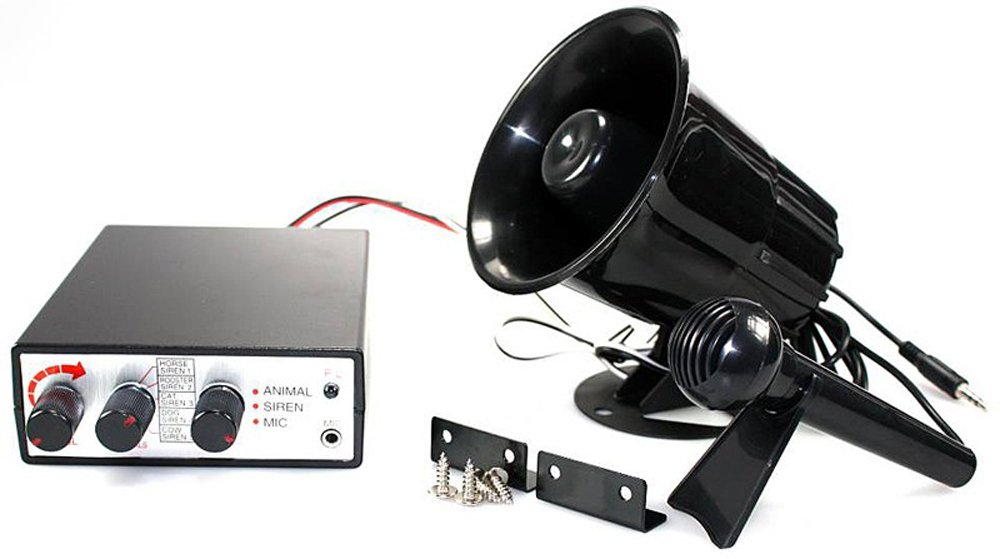 Vetrineinrete® Megafono con microfono e centralina per auto 12v kit sirena con effetti sonori suoni animali A34