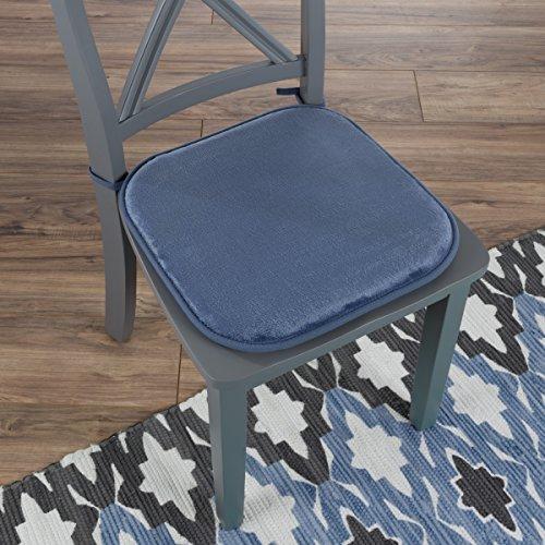 "Lavish Home 82-TEX1043BL Memory Foam Chair Cushion-Square 16""x 16.25"" , Blue by Lavish Home"
