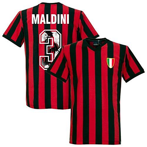 copa 1960's AC Milan Home Retro Shirt + Maldini 3 (Gallery Style Printing) - (Ac Milan Retro)