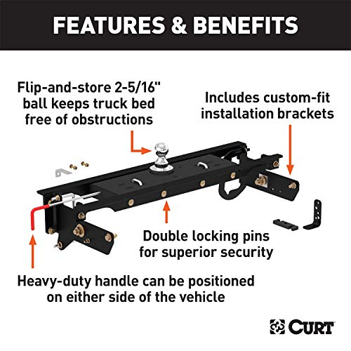 CURT 60720 Double Lock Gooseneck Hitch with Flip-and-Store Ball, 30,000 lbs., 2-5/16-Inch Ball, Fits Select Ford F-250, F-350 Super Duty, F-450 Super Duty 5th Wheel Ball Hitch