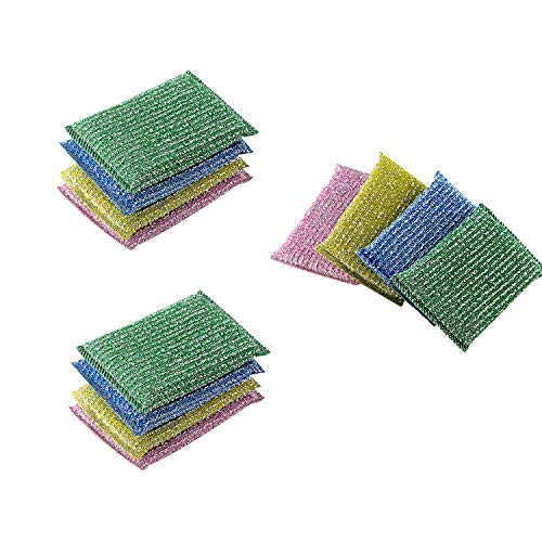 Miao Jie Scouring Pad - 3 Packs 12 Counts Scrubbing Sponges - Double Side Metallic Surface Scrubber for Kitchen and Bathroom Cleaning Dish Sponge for Dishes Pots Pans Utensils, in Assorted Color