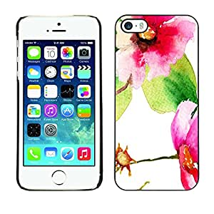 Jordan Colourful Shop - Pretty Watercolor Floral Picture For iPhone 5 / 5S Custom black plastic Case Cover