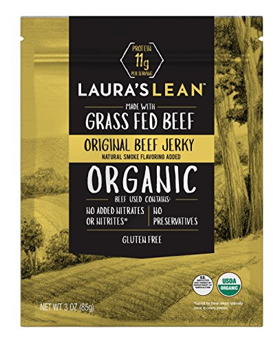 Laura's Lean Beef Organic Grass Fed Jerky, Original, 3 Oz Bags (Case of 8)