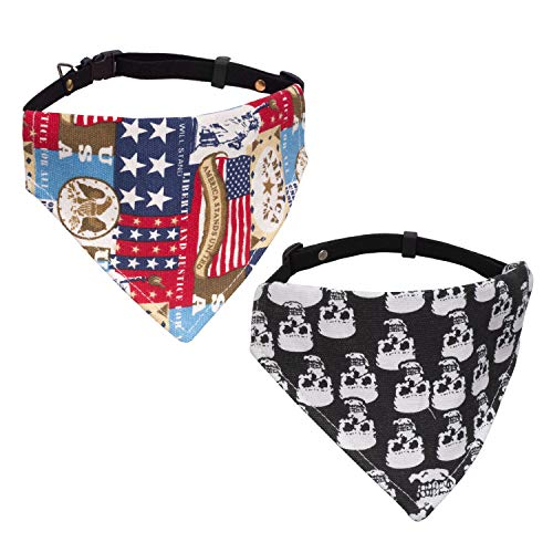 Vavopaw Dog Cat Bandana Collar, [2 Pack] Adjustable Pet Bibs Cute Neckerchief Dog Cat Puppy Triangle Scarf Collar, Medium Size - Skull & US Flag
