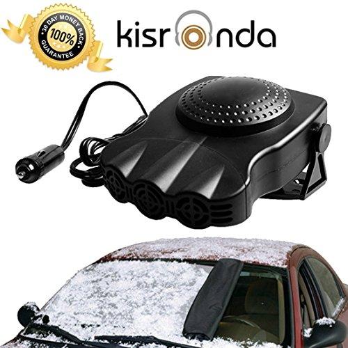 BOCOLA Car Heater Portable 30 Seconds Fast Heating Quickly Defrosts Defogger 12V 150W Auto Ceramic Heater Cooling Fan 3-Outlet Plug In Cig Lighter (Black)