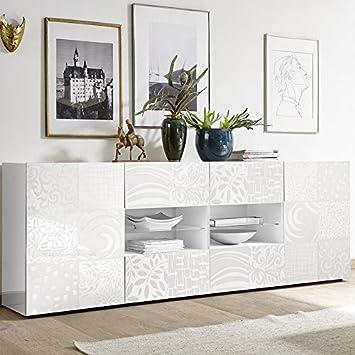 M-012 Buffet Blanc laqué 240 cm Design ELMA: Amazon.fr: Cuisine & Maison