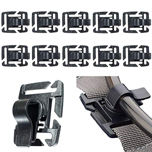 (West Coast Paracord 10 Pack Tactical Military Hydration Tube Clips – Water Tube Clamp – MOLLE Webbing Attachment – 360-Degree Rotation)