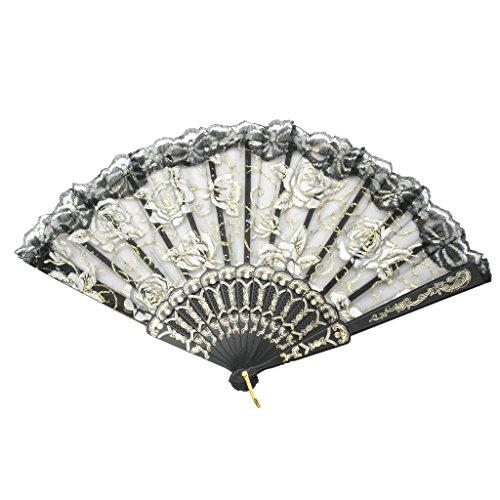 TRENDBOX Elegant Vintage Retro Flower Rose Lace Handheld Chinese Folding Fan for Dancing Ball Parties Ladies - -