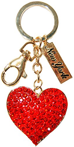 Ring Heart Diamond Perfect - Elegant Bright Red Diamond Encrusted 3-D Heart of Love Keychain