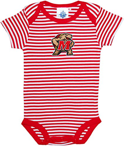 Creative Knitwear University of Maryland Terps Striped Baby Bodysuit Red