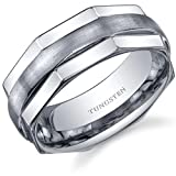 Hexagonal Edge Combination Finish 8mm Comfort Fit Mens Tungsten Carbide Wedding Band Ring Size 10.5 Picture