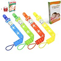 Pacifier Clip By Elefuntot Keeps Pacifier Secure & Safe From Falling, Much More Sanitary, Safe For Baby, 4 Ct. Stylish Chevron & Starfish Binky Leash with Design on Both Sides, Unique Gift, Guaranteed