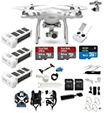 DJI Phantom 3 Advanced Quadcopter Drone with 2.7K HD Video EVERYTHING YOU NEED Kit + 3 Total DJI Batteries + Snap on Guards + 2 64GB SD Cards + Reader + Carry System w/ Harness
