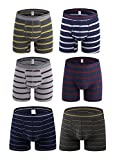Novee Men's Performance Comfortable Soft Cotton Boxer Briefs Trunks Stripe Underwear Breathable (2368-2388-S)