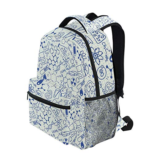 KVMV Science Chemistry Geometry Math Nerd Geek and Genius Themed Design Lightweight School Backpack Students College Bag Travel Hiking Camping Bags