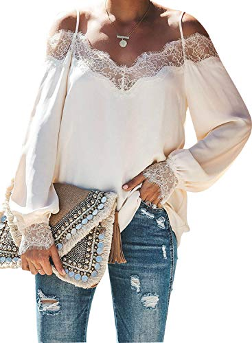 - BLENCOT Women's Ladies Fall Sexy Lace V Neck Strappy Cold Shoulder Long Sleeve Shirts Casual Loose Blouses Tops White S