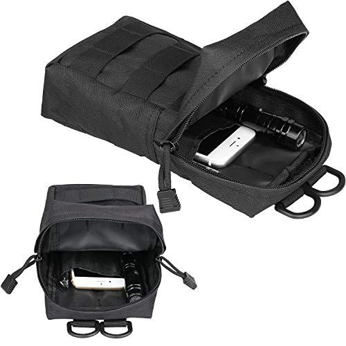 Gohiking Molle Pouch 2 Pack Tactical Compact EDC Utility Gadget Waist Bag with 10 Pack Multipurpose D-Ring Grimloc Locking Hook by Gohiking (Image #2)