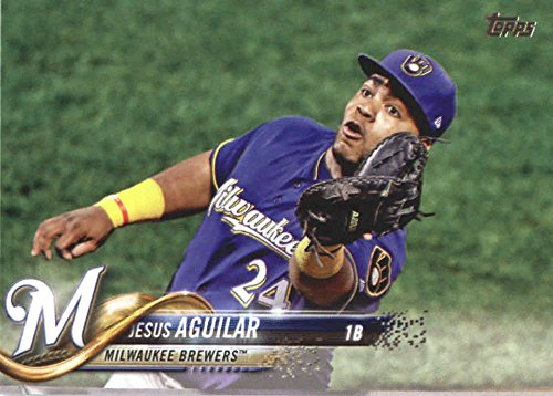 2018 Topps Series 2#442 Jesus Aguilar Milwaukee Brewers Baseball Card - GOTBASEBALLCARDS