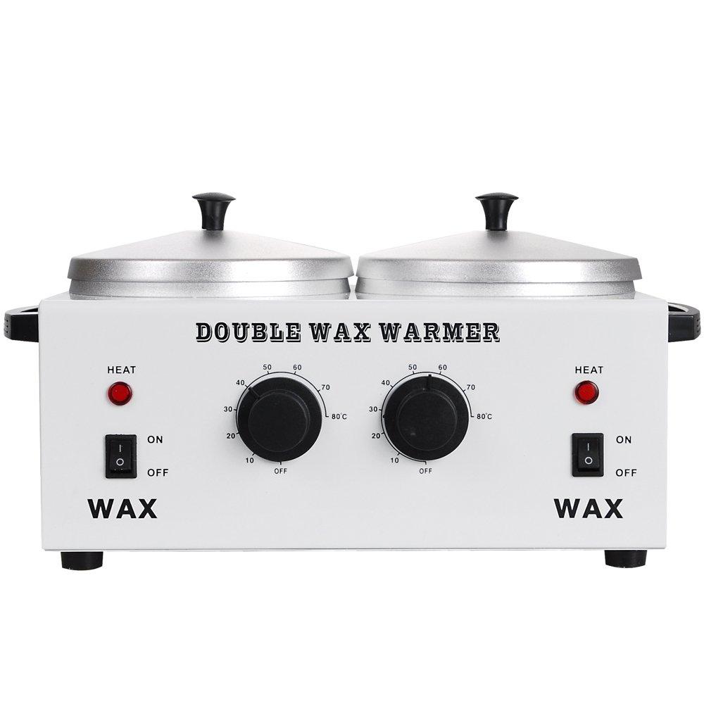 DOUBLE Wax Warmer Professional Electric Heater Dual Parrafin Hot Facial Skin Equipment SPA Adjustable Temperature Set