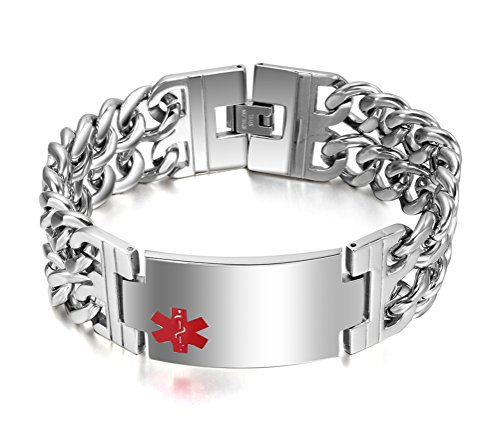 Men's Medical Alert ID Bracelet Stainless Steel Wrist Link Chain (Free Engraving),8.5 (Small Medical Id Bracelet)