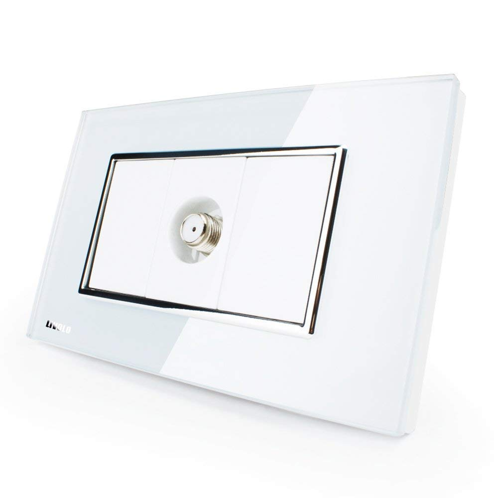 LIVOLO White US Standard 1 Gang Satellite TV Socket With Luxury Tempered Glass Panel, C391ST-81
