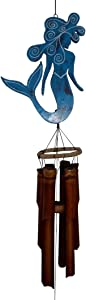 Cohasset Gifts 210B Cohasset Chime Mermaid Bamboo Wind Chicme, Distressed Pale Blue