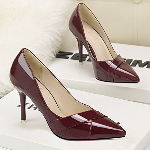 Mesdames Stiletto High Heel A Souligné Court Shoes Chaussures De Soirée Clubbing Escarpins à Talons Hauts Fashion Shallow Mouth Cutout Sexy Darkred f1O9mLOiu