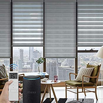 Amazon Com Yoolax Motorized Zebra Shades Free Stop Cordless Zebra Blinds Rechargeable Dual Layer Sheer With Cassette Valance Window Blinds
