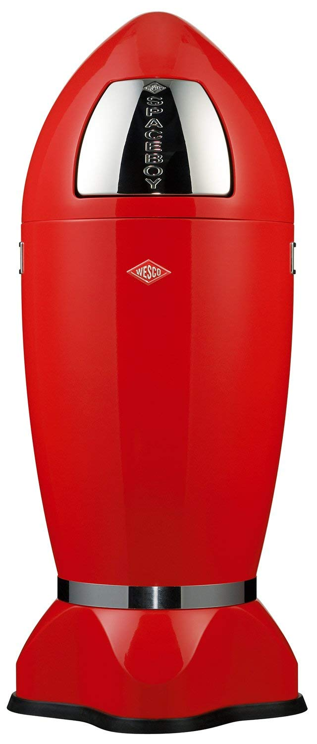 Wesco Spaceboy - German Made - X-Large Push Door Trash Can, Powder Coated Steel, 9.2 Gallons / 35 L, Red by Wesco