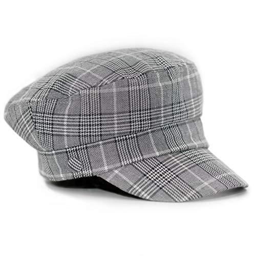 accsa Women Bakerboy Pageboy Fashion Herringbone Plaid Cabbie Newsboy Beret Cap Grey