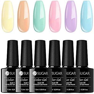 UR SUGAR 7,5ml Esmalte de Gel Semipermanente Colores del Caramelo Soak Off UV LED Esmalte de Uñas Gel Manicura Kit de Colección de 6 Botellas: Amazon.es: Belleza