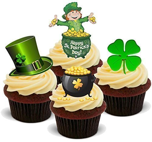NOVELTY HAPPY ST PATRICKS DAY MIX (SET B) - Standups 12 Edible Standup Premium Wafer Cake Toppers
