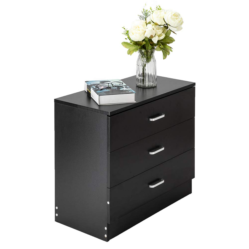 WM Simple 3 Storey, Family Room Chest of Drawers, Bedroom Chest of Drawers, Living Room Chest of Drawers (Black)