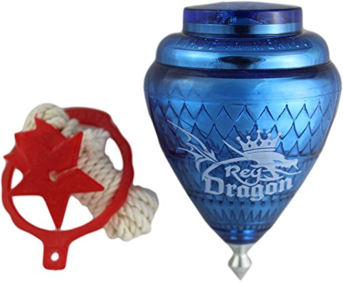 3 Pack Rey Dragon Durable Plastic Spin Tops For Kids Metal Tip Made in Mexico - Trompo Mexicano Rey Dragon Plástico Durable & Punta de Metal (Pack of 3 Assorted Colors)