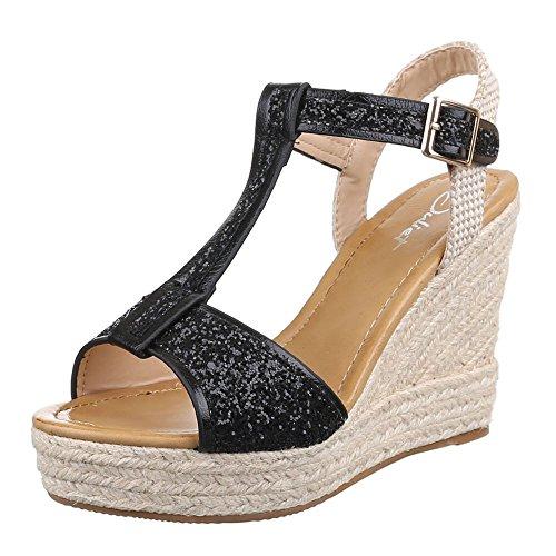 Noir femme Design Ital compensées chaussures IxgBtZ6