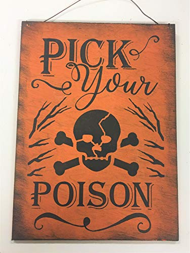 Pick Your Poison Skull Halloween Decor Wood Wall or Wreath Sign -
