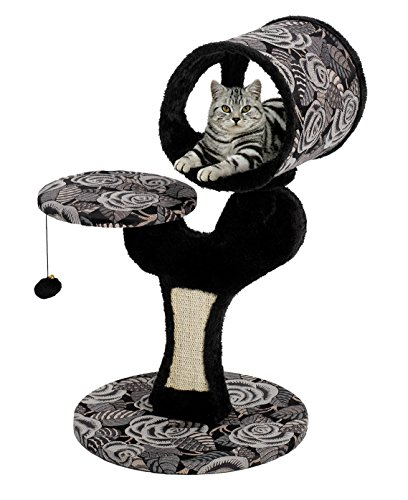 "MidWest ""Salvador"" Cat Tree w/ Built-in Sisal Cat Scratching Pad & Cat Look-Out Lounge, Black / White Pattern, Small Cat Tree"
