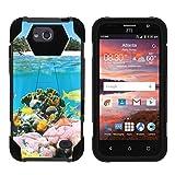 zte reef phone accessories - TurtleArmor | ZTE Majesty Pro Case [Dynamic Shell] Hard Shell Impact Silicone Case Hybrid Shock Kickstand Ocean Beach Design - Coral Reef
