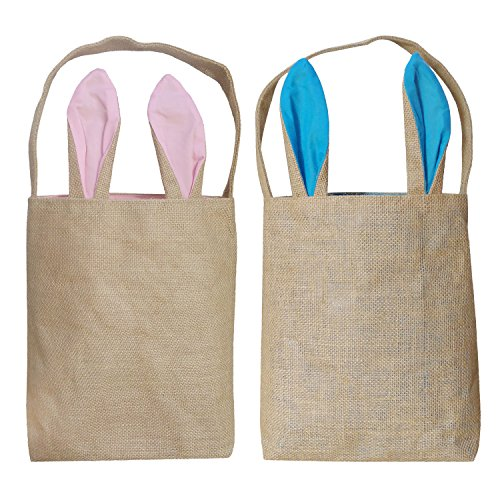 Easter Egg Basket for Kids Bunny Baskets with Cross-Stitch Line Burlap Gift Bag Tote Jute Bags for Embroidery DIY Daily Use (2 Pack, Pink and Blue) FH02