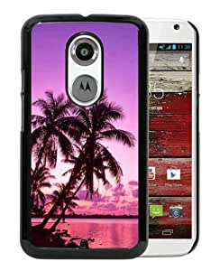 Tropical Palm Trees Sunset Beach Black Moto X 2nd Generation Screen Phone Case Nice and Genuine Design