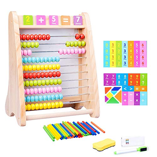 BABY WOODEN ACTIVITY ABACUS TOY PLAY CENTRE CHILDREN LEARING BEAD DRAWING BOARD