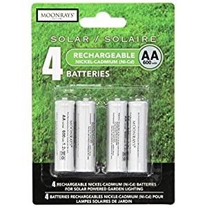 Moonrays 97125 Rechargeable AA Batteries For Solar-Powered Lights (4-Piece Value Pack)