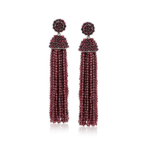 Ross-Simons Garnet Bead Tassel Drop Earrings in Sterling -