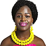 laanc 2 Rows Womens Nigerian Wedding African Beads Green 18inch Necklace 8inch Bracelet Jewelry Sets