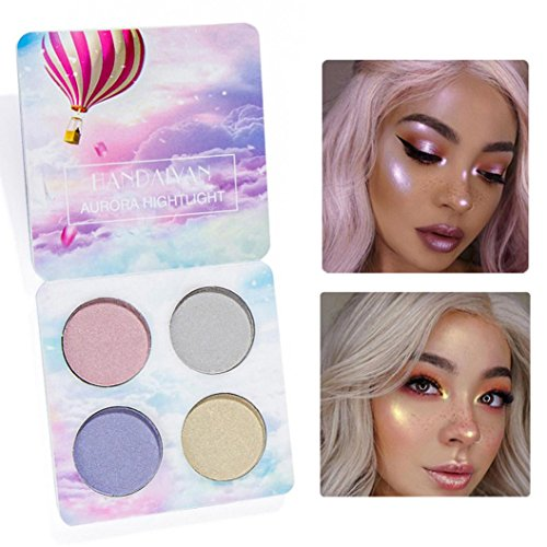 Price comparison product image Ourhomer HANDAIYAN Waterproof Lasting Professional Makeup Face Powder 4 Colors Bronzer Highlighter Powder Palette (A)