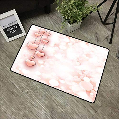 (Bathroom Door mat W19 x L31 INCH Light Pink,Valentines Day Themed Composition with Cute Vivid Hearts Bokeh Effect,Light Pink White Non-Slip, with Non-Slip Backing,Non-Slip Door Mat Carpet)