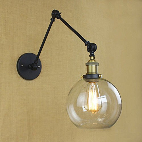 Pendant Light Vintage Style Long pole double jont glass wall lamp Wire Cage Wall Sconces Black Dress Shape Retro Cage Pendant Lamp Rustic wall Lighting (Style (Double Glass Pendant Lamp)