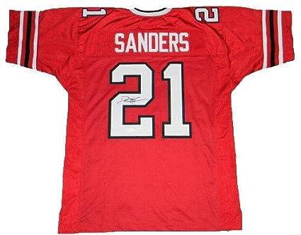online retailer 0f1ff 1dc54 Deion Sanders Autographed Jersey - #21 Red Throwback - JSA ...