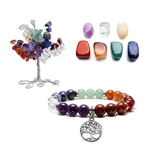 QGEM 7 Chakra Gems Tree of Life Set,Money Tree+ Irregular Chakra Stones+ Chakra Brarcelet Tree Pendant Reiki Healing Feng Shui Spiritual Decor Ornaments (7 chakra- Tree of - Carved Pendant Carnelian