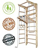 Dani Wall Bars KN-04-220, 87 in Wooden Swedish Ladder Set: Adjustable Horizontal/Pull Up Bars, Rings, Trapeze Rope Ladder Training Physical Therapy - Used in Homes, Gyms, Clinic Schools